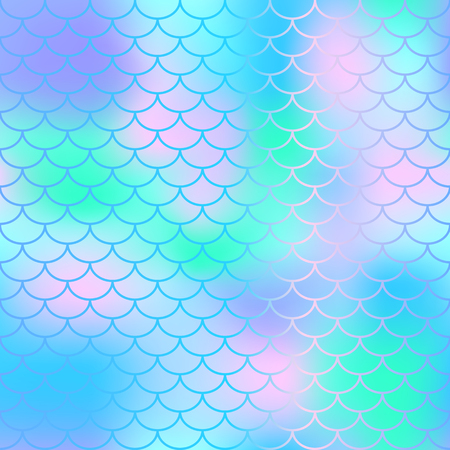 Fish scale texture vector pattern. Magic mermaid tail background. Colorful seamless pattern with fish scale net. Blue mint mermaid skin surface. Mermaid seamless pattern swatch. Nursery background