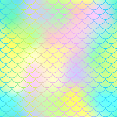Fish scale texture vector pattern. Magic mermaid tail background. Colorful seamless pattern with fish scale net. Bright neon mermaid skin surface. Mermaid seamless pattern swatch. Nursery background Stok Fotoğraf - 83810426
