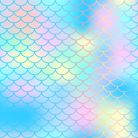 Fish scale texture vector pattern. Magic mermaid tail background. Colorful seamless pattern with fish scale net. Blue pink mermaid skin surface. Mermaid seamless pattern swatch. Nursery background Ilustracja