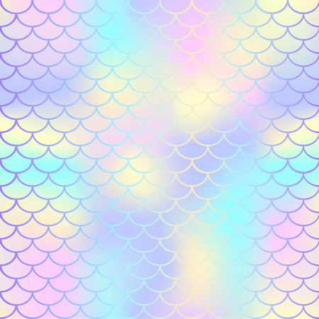 Patrón de vector de textura de escala de peces. Fondo de cola de sirena mágica. Patrón transparente de colores con red de escala de peces. Pálido arco iris sirena superficie de la piel. Mosaico de patrones sin fisuras de la sirena. Fondo de guardería