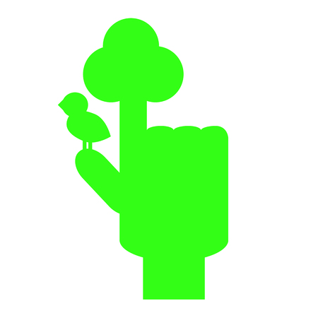 Green hand with pointed finger with symbolic tree and bird. Tree symbol by hand. Tree and bird logo. Neon green hand for environment or ecological problem. Tree hand icon. Sustainable development sign Illustration