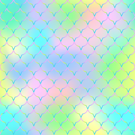 Fish scale texture vector pattern. Magic mermaid tail background. Vibrant seamless pattern with fish scale net. Bright rainbow mermaid skin surface. Mermaid seamless pattern swatch. Nursery background