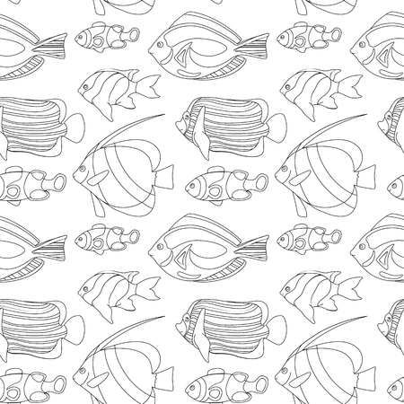Outlined coral fishes seamless pattern tile. Tropical fish seamless pattern. Coloring paper swatch. Black and white coral fishes for coloring. Sea animals drawing. Aquarium fish seamless pattern 向量圖像
