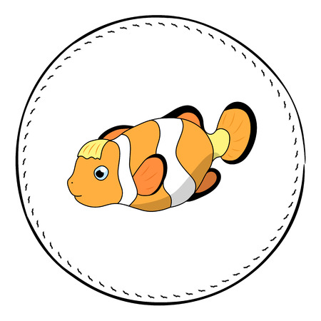 Funny clownfish isolated on white background. Coral fish Clown cartoon vector illustration. Underwater animal handdrawn patch. Aquarium fish drawing. Tropical sea fish clipart. Marine fauna character