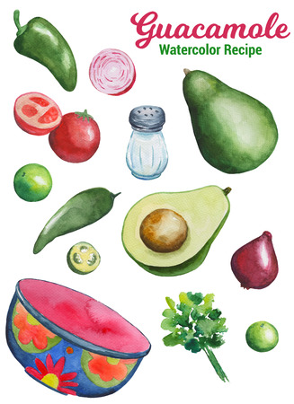 cilantro: Guacamole ingredients handdrawn illustration. Vegetables and kitchenware by watercolor isolated on white background. Traditional mexican food. Summer season avocado salad. Avocado guacamole cooking Foto de archivo