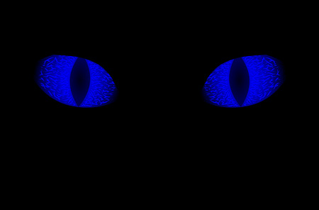 Glowing blue eyes of animal Illustration