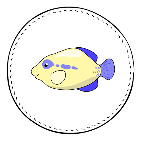 Tropical fish Triggerfish isolated on white background. Cute coral fish cartoon vector illustration. Underwater animal patch. Aquarium fish drawing. Tropical sea animal clipart. Marine fauna character