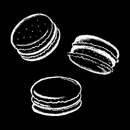 Macarons white chalk vector illustration on black. White chalk macarons drawing. French cookie macaron with cream. Cafe or coffee bar menu icon. Sweet cookie macaroon logo. Delicious dessert sketch