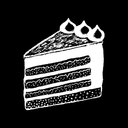 Pièce de gâteau craie blanche sur illustration vectorielle tableau noir. Morceau de tarte sucrée. Menu café ou café. Logo de gâteau au fromage. Morceau de gâteau crémeux. Icône de dessert savoureux. Dessert de gâteau à la crème blanche Banque d'images - 87805080
