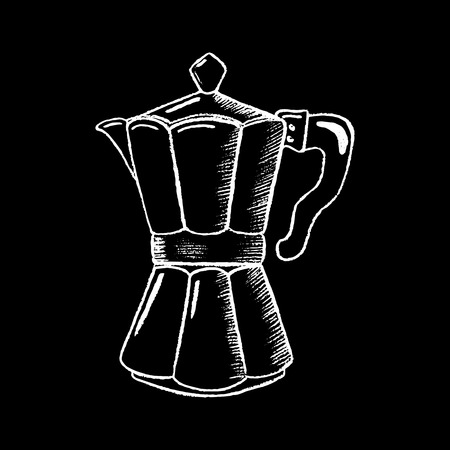Coffee pot white chalk on black chalkboard vector illustration. Coffee-maker icon on blackboard. Coffee bar or cafe logo. Coffee drinking symbol. Stove coffee pot. Hot drink cooking. Morning breakfast