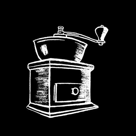 Koffiemolen wit krijt op zwarte schoolbord vectorillustratie. Klassieke vintage koffiemolen. Koffiemolen door wit krijt. Blackboard koffiemolen pictogram. Café of restaurant menu decor Stock Illustratie
