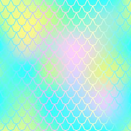 素晴らしい魚の皮膚スケール パターンのベクトルの背景。人魚のパターン。淡いグラデーション メッシュ。ぼやけてベクトルの背景を抽象化します