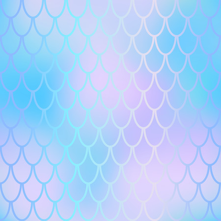 Fantastic fish skin vector background with scale pattern. Mermaid pattern. Pale gradient mesh. Abstract blurry vector background. Fish skin seamless pattern. Mermaid background. Violet blue fishscale Ilustração