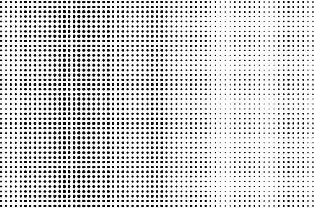 白黒点線のハーフトーンベクトルの背景。通常のハーフトーンパターン。透明なオーバーレイ上の黒い点。モノクロームの点線イラスト。垂直方向