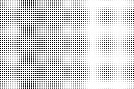 Black and white dotted halftone vector background. Regular halftone pattern. Black dot on transparent overlay. Monochrome dotted illustration. Vertical halftone gradient. Pop art dotted texture