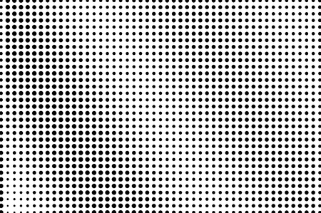 Black and white dotted halftone vector background. Regular halftone pattern. Black dot on transparent overlay. Monochrome dotted illustration. Diagonal halftone gradient. Pop art dotted texture
