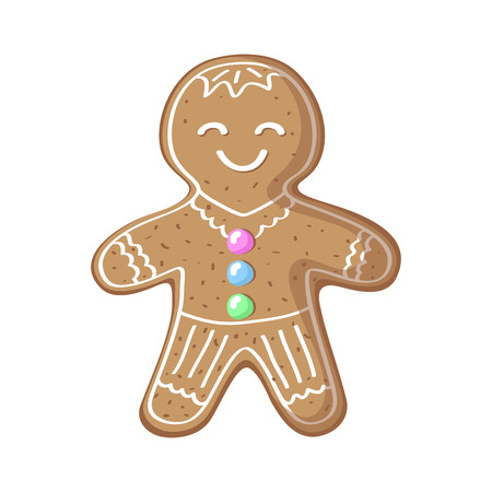 Gingerbread man vector illustration on white background. Cute smiling gingerbread man cartoon drawing. Christmas New Year traditional dessert. Ginger bread cookie isolated. Gingerbread figurine icon