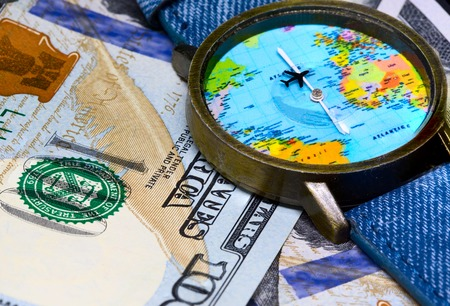 Watch with global map on cash money world map clock worldwide world map clock worldwide business concept cash banknotes background global business worldwide business travel emerging market profit gumiabroncs Images