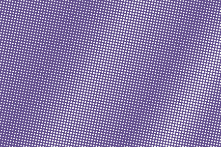 Violet white dotted halftone. Frequent dark dotted gradient. Half tone vector background. Abstract futuristic texture. Small ink dot on transparent backdrop. Modern pop art design template