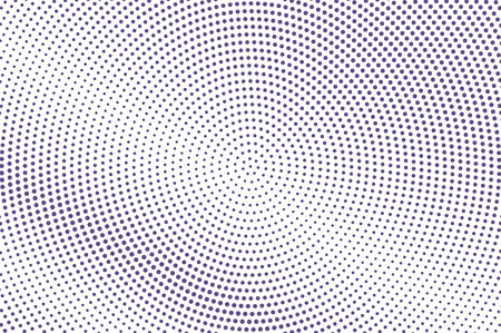 Violet white dotted halftone. Pale radial dotted gradient. Half tone vector background. Abstract futuristic texture. Violet ink dot on transparent backdrop. Modern pop art design template