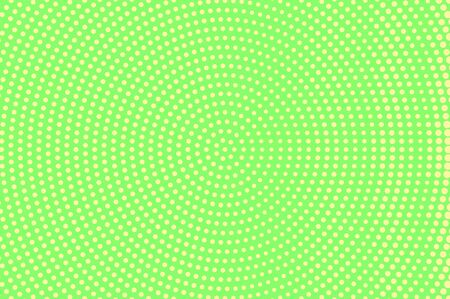 Green yellow dotted halftone. Round sparse dotted gradient. Half tone vector background. Abstract vivid texture. Yellow ink dot on green backdrop. Modern pop art design template. Halftone texture Stock Illustratie
