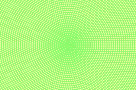 Green yellow dotted halftone. Centered faded dotted gradient. Half tone vector background. Abstract vivid texture. Yellow ink dot on green backdrop. Modern pop art design template. Halftone texture