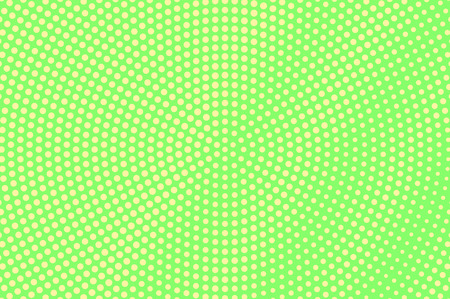 Green yellow dotted halftone. Diagonal radial dotted gradient. Half tone vector background. Abstract vivid texture. Yellow ink dot on green backdrop. Modern pop art design template. Halftone textureGr