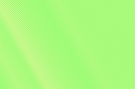 Green yellow dotted halftone. Diagonal centered dotted gradient. Half tone vector background. Abstract vivid texture. Yellow ink dot on green backdrop. Modern pop art design template. Halftone texture Illustration