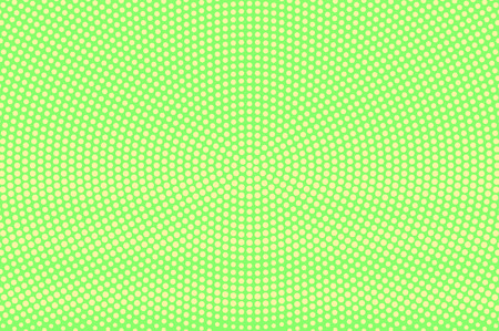 Green yellow dotted halftone. Radial rough dotted gradient. Half tone vector background. Abstract vivid texture. Yellow ink dot on green backdrop. Modern pop art design template. Halftone texture Illustration