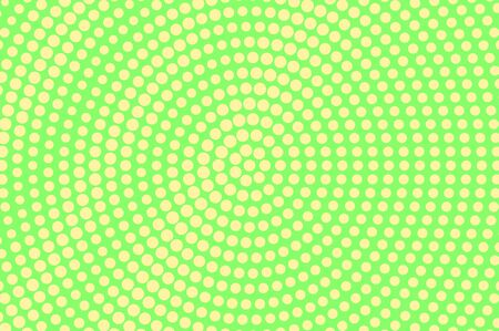 Green yellow dotted halftone. Round oversized dotted gradient. Half tone vector background. Abstract vivid texture. Yellow ink dot on green backdrop. Modern pop art design template. Halftone texture