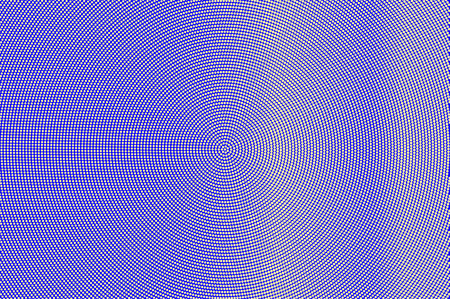 Blue yellow dotted halftone. Centered frequent dotted gradient. Half tone vector background. Artificial texture. Yellow ink dot on blue backdrop. Modern pop art design template. Halftone texture