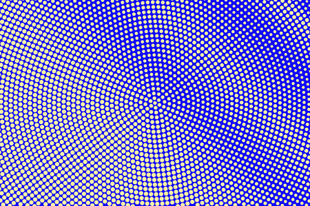 Blue yellow dotted halftone. Diagonal radial dotted gradient. Half tone vector background. Artificial texture. Yellow ink dot on blue backdrop. Modern pop art design template. Halftone texture Illustration