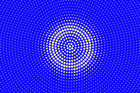 Blue yellow dotted halftone. Contrast radial dotted gradient. Half tone vector background. Artificial texture. Yellow ink dot on blue backdrop. Modern pop art design template. Halftone texture