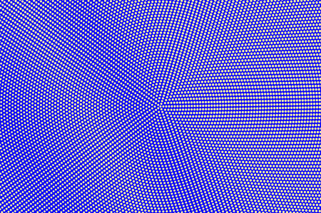 Blue yellow dotted halftone. Shiny radial dotted gradient. Half tone vector background. Artificial texture. Yellow ink dot on blue backdrop. Modern pop art design template. Halftone texture