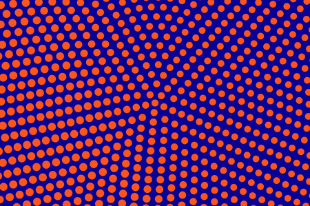 Blue orange dotted halftone. Round oversized dotted pattern. Half tone vector background. Artificial texture. Red dots on blue backdrop. Modern pop art design template. Neon halftone texture
