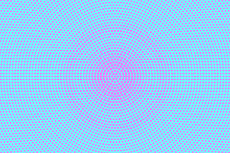 Blue pink dotted halftone. Grungy radial dotted gradient. Half tone vector background. Artificial texture. Pink dots on cyan backdrop. Modern pop art design template. Glitch halftone texture