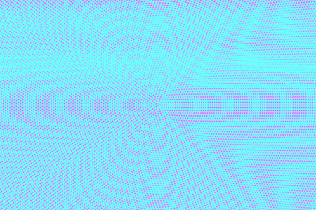 Blue pink dotted halftone. Horizontal centered dotted gradient. Half tone vector background. Artificial texture. Pink dots on cyan backdrop. Modern pop art design template. Glitch halftone texture