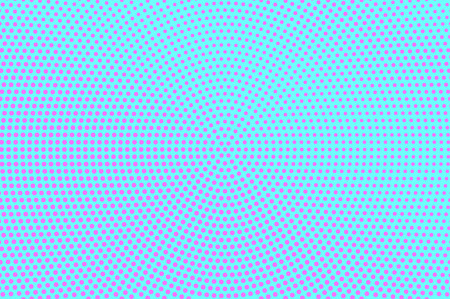 Blue pink dotted halftone. Sparse radial dotted gradient. Half tone vector background. Artificial texture. Pink dots on cyan backdrop. Modern pop art design template. Glitch halftone texture
