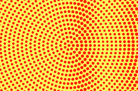 Yellow red dotted halftone. Oversized radial dotted gradient. Half tone vector background. Artificial texture. Red dots on yellow backdrop. Vivid pop art design template. Glitch halftone texture