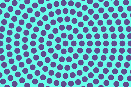 Blue violet dotted halftone. Oversized circle dotted gradient. Half tone vector background. Artificial texture. Purple dots on cyan backdrop. Vivid pop art design template. Glitch halftone texture