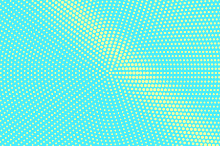 Turquoise yellow dotted halftone. Radial diagonal dotted gradient. Half tone vector background. Artificial texture. Yellow dot on blue backdrop. Vivid pop art design template. Glitch halftone texture