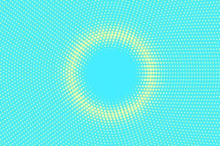 Turquoise gele gestippelde illustratie