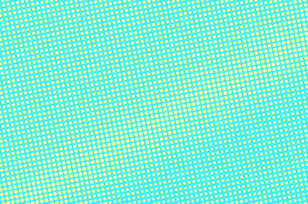 Turquoise yellow dotted halftone, diagonal frequent dotted gradient. Halftone vector background artificial texture. Yellow dot on blue backdrop vivid pop art design template glitch halftone texture.