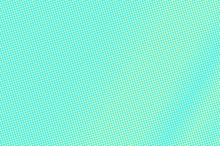 Turquoise yellow dotted halftone. Diagonal subtle dotted gradient. Halftone vector background. Artificial texture. Yellow dot on blue backdrop. Vivid pop art design template. Glitch halftone texture
