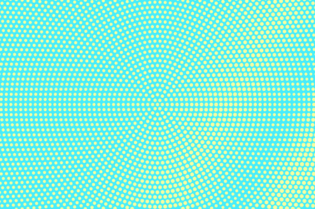 Turquoise yellow dotted halftone. Centered grungy dotted gradient. Half tone vector background. Artificial texture. Yellow dot on blue backdrop. Vivid pop art design template. Glitch halftone texture