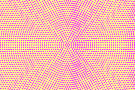 Yellow pink dotted halftone. Frequent smooth dotted gradient. Half tone vector background. Artificial texture. Pink dot on yellow backdrop. Pastel pop art design template. Glitch halftone texture Illustration