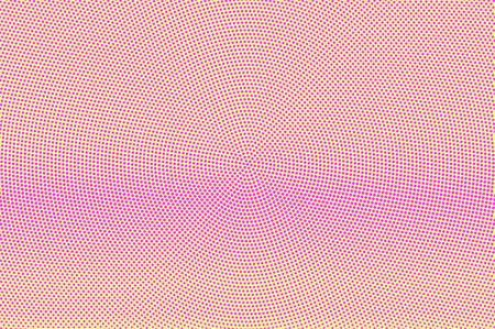 Geel roze gestippelde halftoon. Vloeiend subtiel gestippeld verloop. Halftint vector achtergrond. Kunstmatige textuur. Roze stip op gele achtergrond. Pastel popart ontwerpsjabloon. Glitch halftone textuur