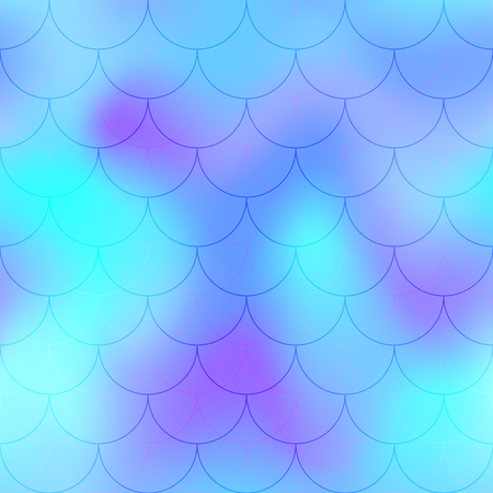 Violet blue mermaid scale vector background. Abstract iridescent background with fish scale pattern. Seamless gradient mesh swatch. Holographic square tile for colorful backdrop. Mermaid skin texture