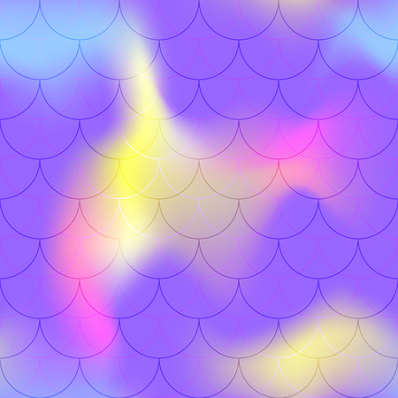 Violet yellow mermaid scale vector background. Northern light iridescent background. Fish scale pattern. Seamless pattern swatch. Holographic gradient seamless pattern. Abstract texture. Mermaid skin Vettoriali