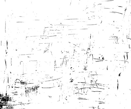Obsolete vector texture in monochrome palette. Paint stroke or ink grit on paper. Black dirt on white background. Distressed marks overlay for vintage effect. Old canvas surface trace for retro design